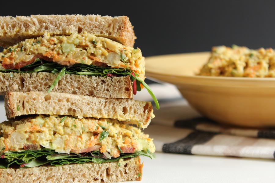 Vegan mashed chickpea salad