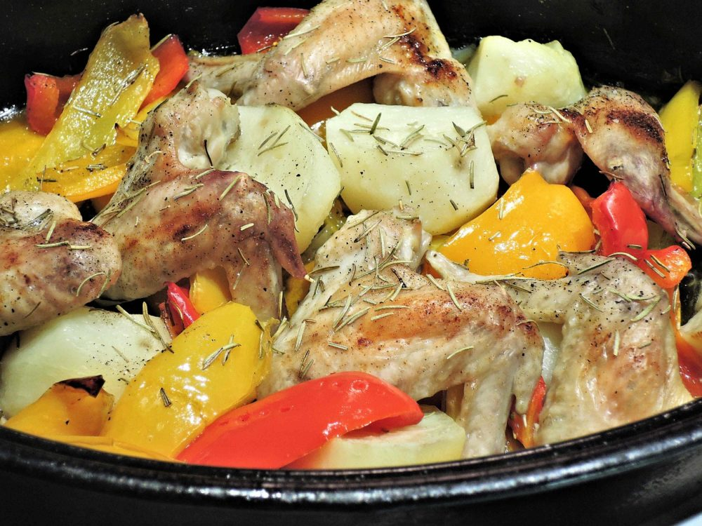 Roast Chicken and Peaches