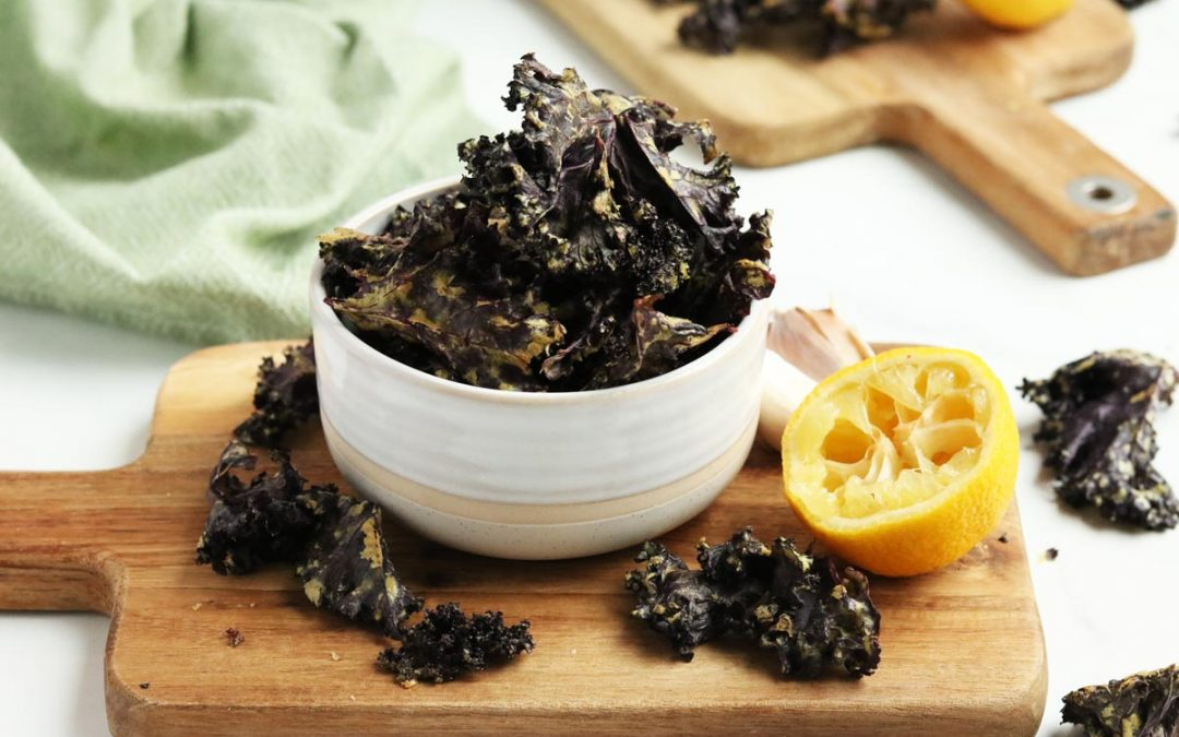 'Cheesy' Dill Pickle Purple Kale Chips