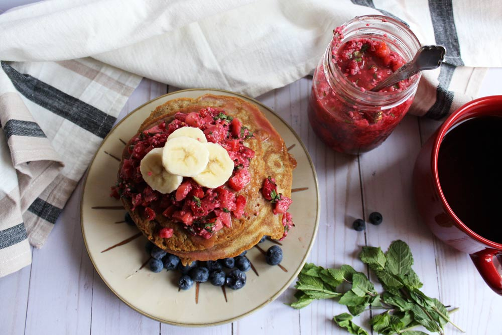 Dairy-free Buckwheat Pancakes With Mint Berry Salsa