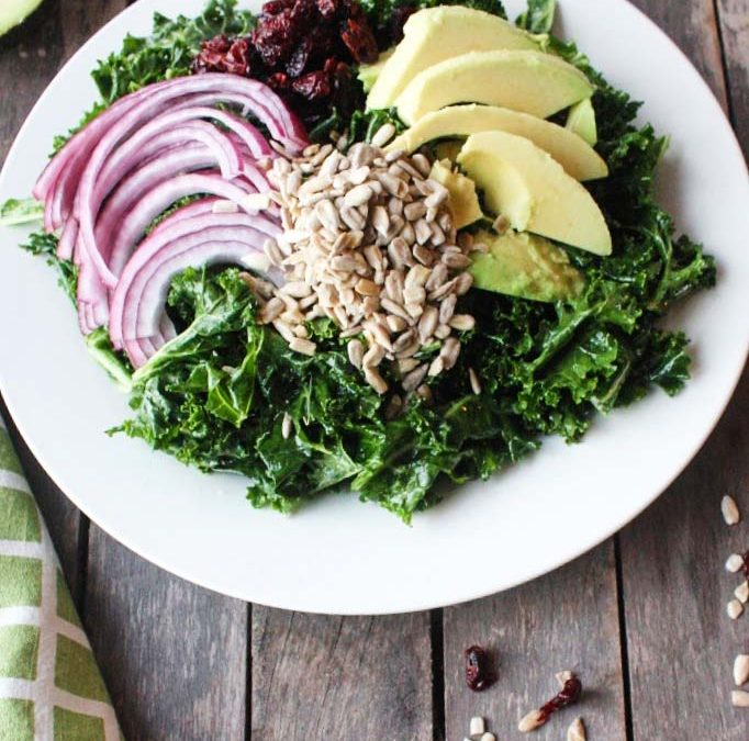 Simple Kale Salad With Creamy Garlic Dressing