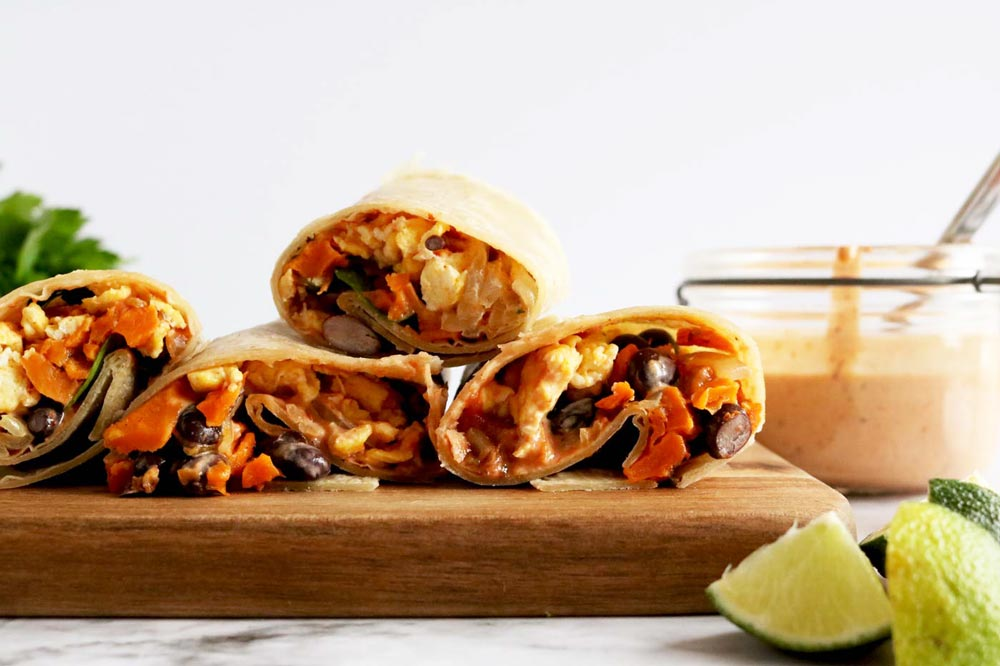 Healthy Breakfast Burrito With Chipotle Mayo