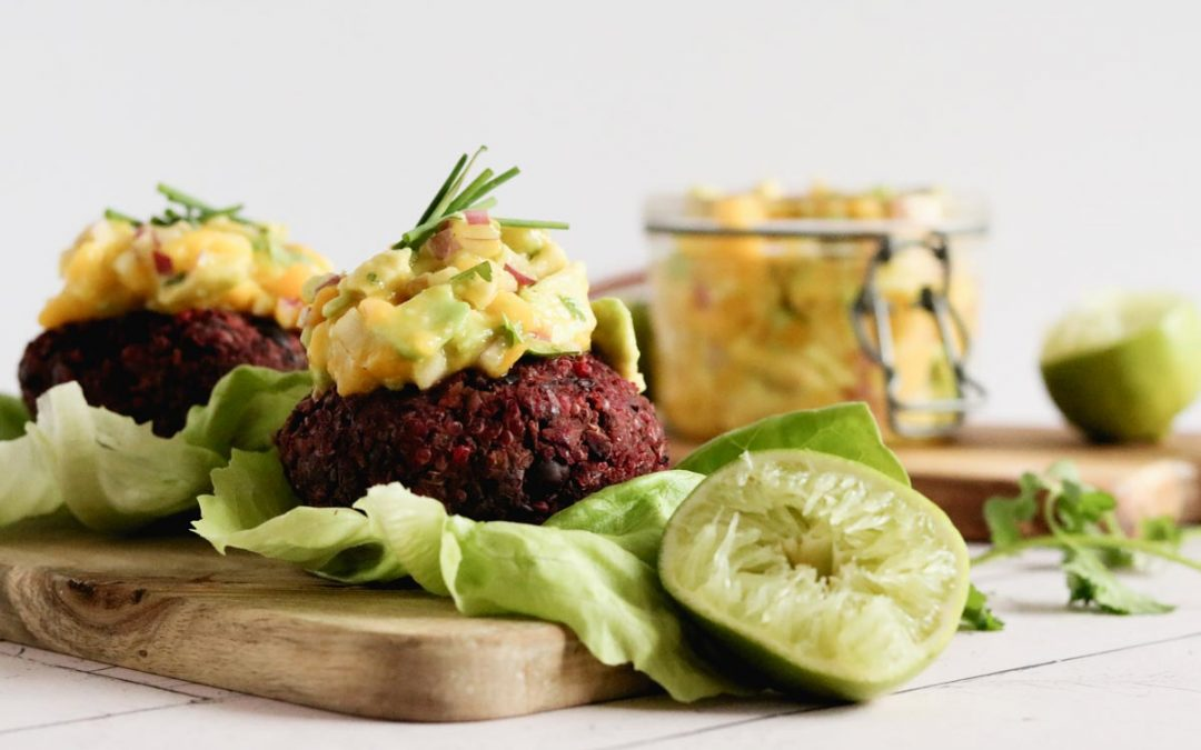 Vegan Beet Burger With Avocado And Mango Salsa