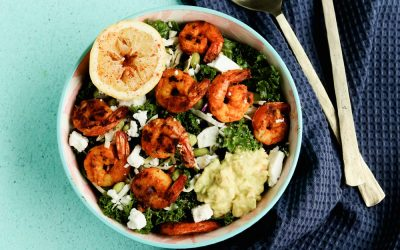 Incredibly Healthy Sweet Heat Kale Salad With Shrimp
