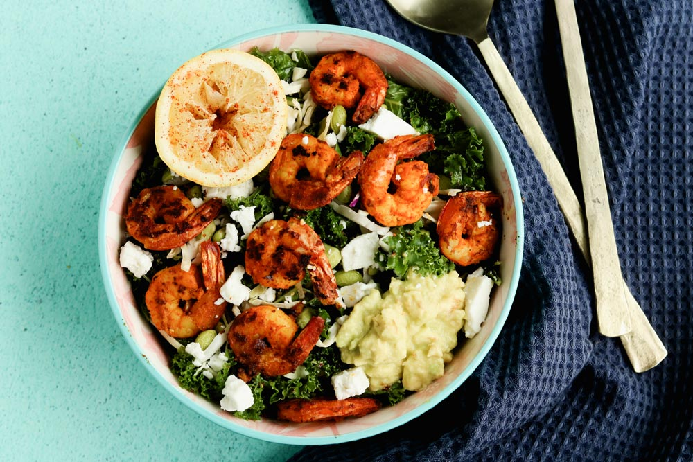 Kale salad with shrimp