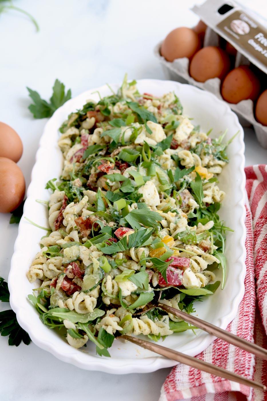 Gluten Free B E L T Pasta Salad With Avocado Ranch Dressing