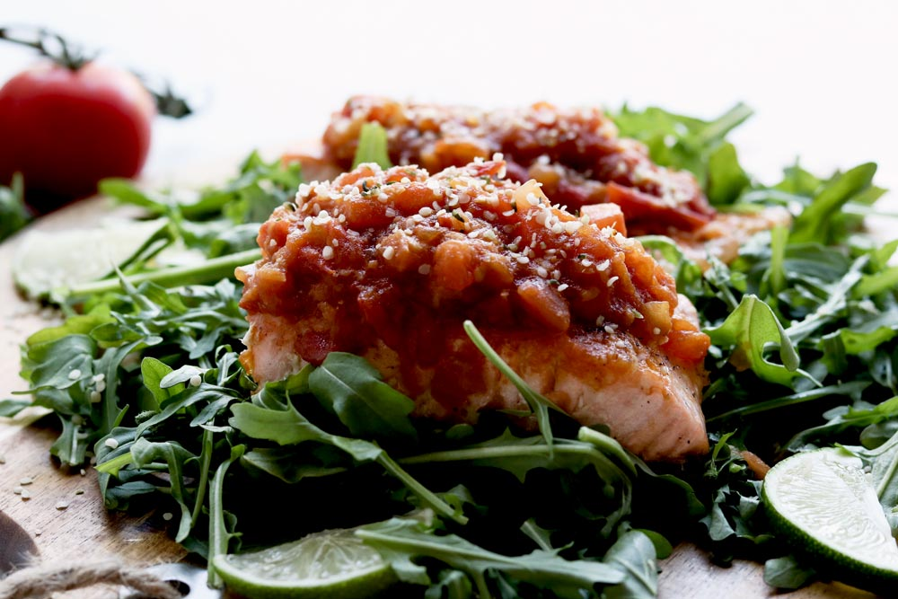 Baked Ginger & Soy Salmon With Tomato Relish
