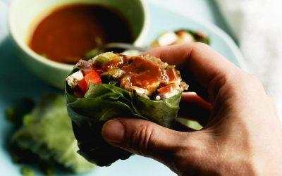 Vegetarian Moo Shu Wraps With Shiitake Mushrooms & Oyster Sauce