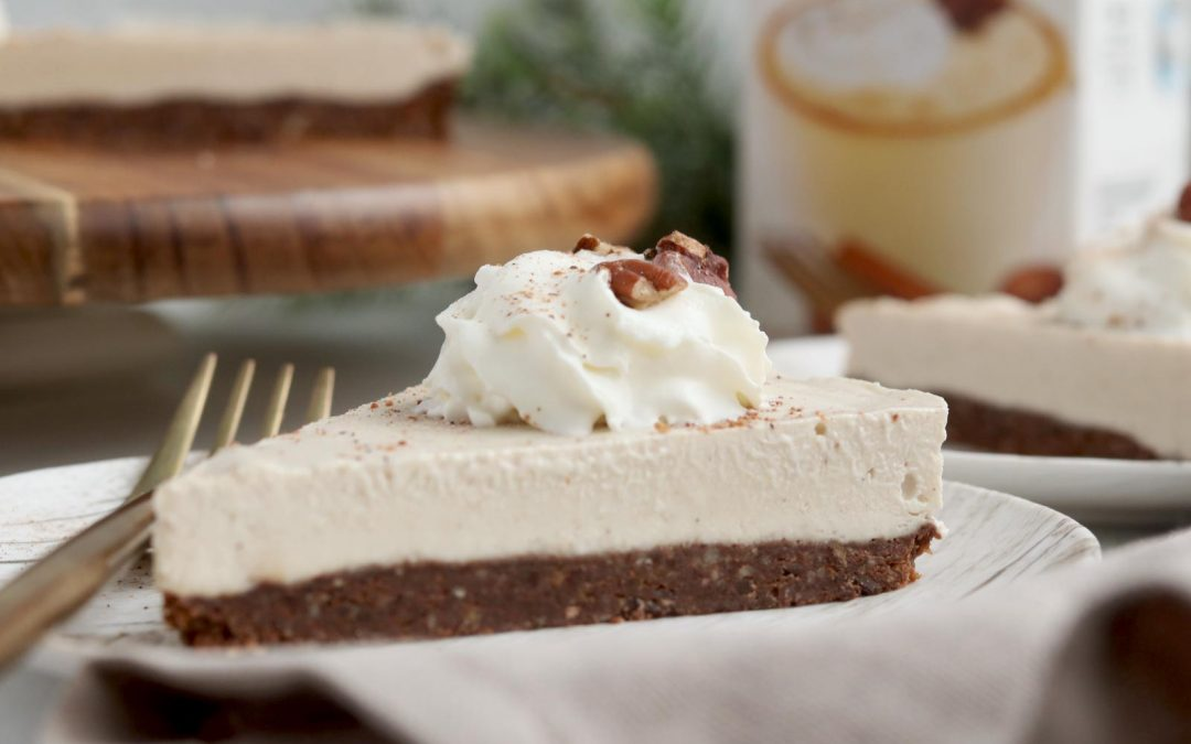 A Simple Vegan Eggnog Cheesecake With Chocolate Crust
