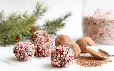 Candy Cane Coated Vegan Peppermint Truffles (4 ingredients)