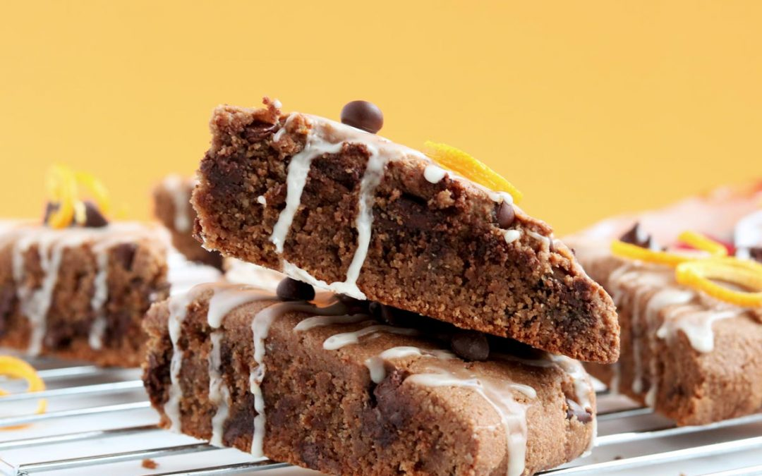 Smashing Orange Infused Gluten-free Chocolate Scones With Citrus Glaze