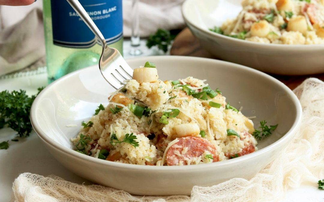 Creamy Cauliflower Risotto with White Wine, Scallops & Sausage22 min read