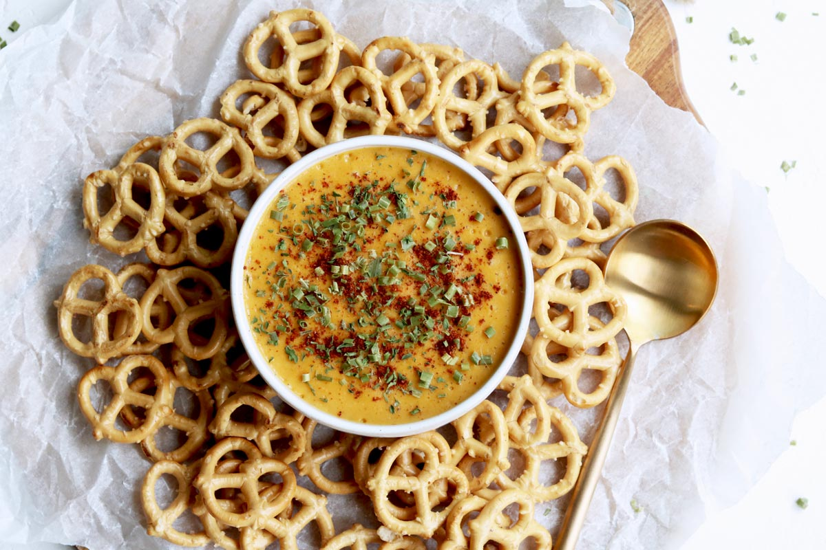 grain-free pretzels with Vegan Queso