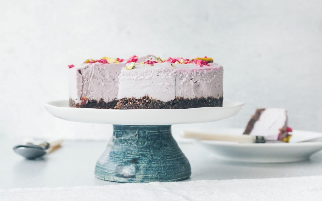 No Bake Rose & Raspberry Vegan Cheesecake Recipe (Paleo, GF)